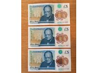New Uncirculated polymer Five Pound Notes AA