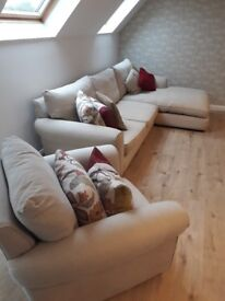 Large 3 seater chaise longue sofa and armchair, with cusions