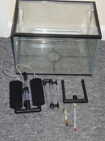 24 litre glass fish tank with plastic lid