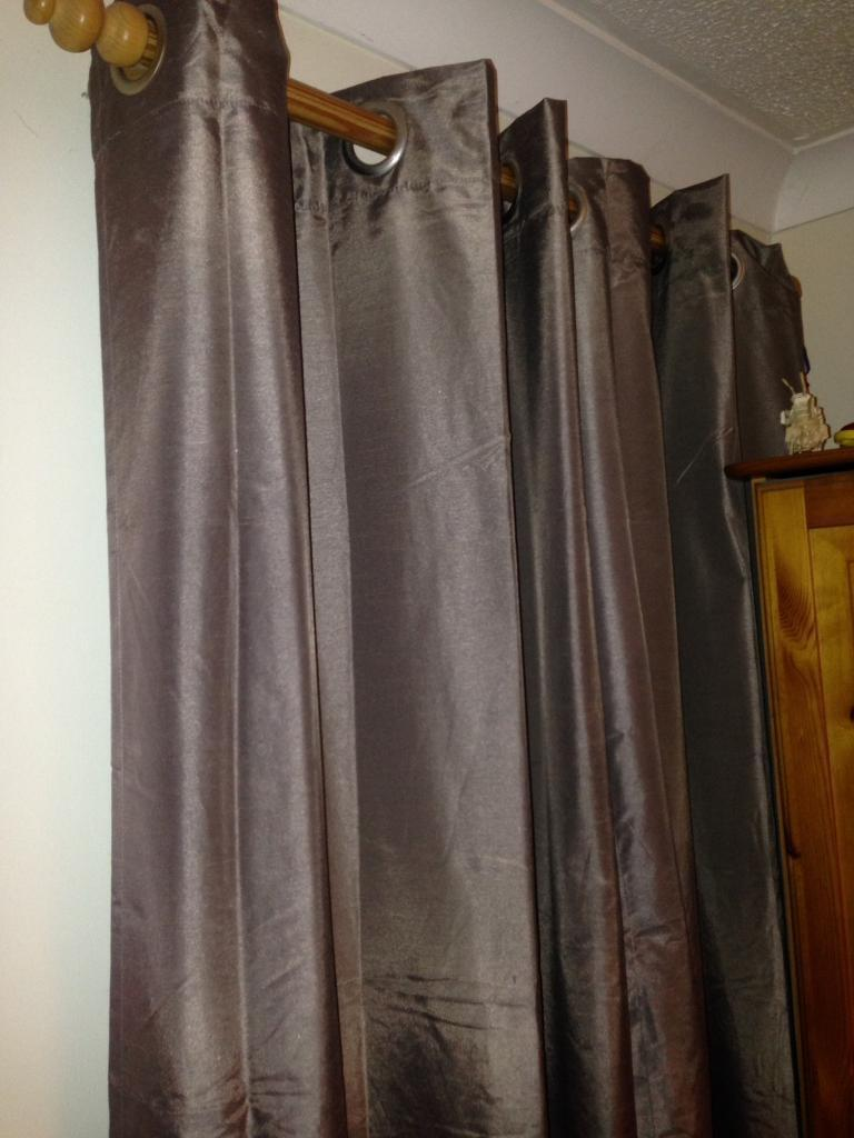 Dunhelm mocha blackout eyelet curtains 54 drop