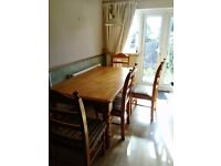 Solid wood dining table and 6 chairs - £100 ono - needs to be collected from Prescot by 3rd July
