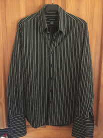 """Calvin Klein striped mens shirt - small size (38"""" chest and 29"""" long)."""