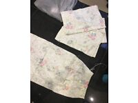 4 green floral design curtains approx 215 by 115