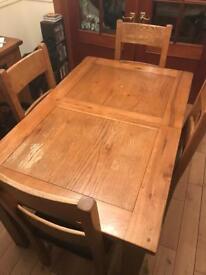 Hardwood Dining Table Set + Side Table