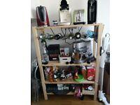Kitchen shelf with bottle storage