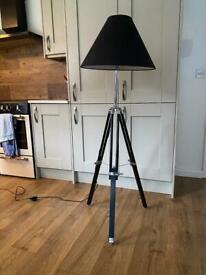2x Navy style Tripod Floor Lamps - Black (Made dot com)