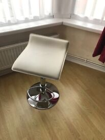 Bar Stool Cream Faux Leather Excellent