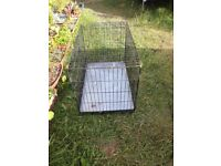 Dog / Other Animal Cage Crate L Metal Foldable 2 Door Black