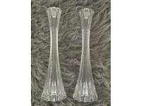 Cut glass candle stick holders