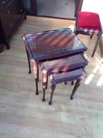 Mahogany antique table nest