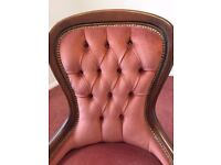 Pretty accent small pink velvet button back occasional bedroom chair 50x40x90cm