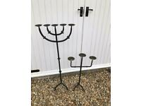 2 Floor standing, decorative, wrought iron candle holders