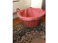 Red Basket with Gingham Lining