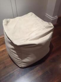 Beige Faux Suede Bean bag cube pouf