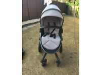 Silver cross surf. Full package, carry cot, car seat, isofix, seat unit, grey hood and apron.