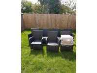 Homebase grey rattan garden furniture, table, chairs and cushions