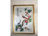 STUNNING CHINESE SILK EMBROIDERED PICTURE - (EXCELLENT DETAIL)
