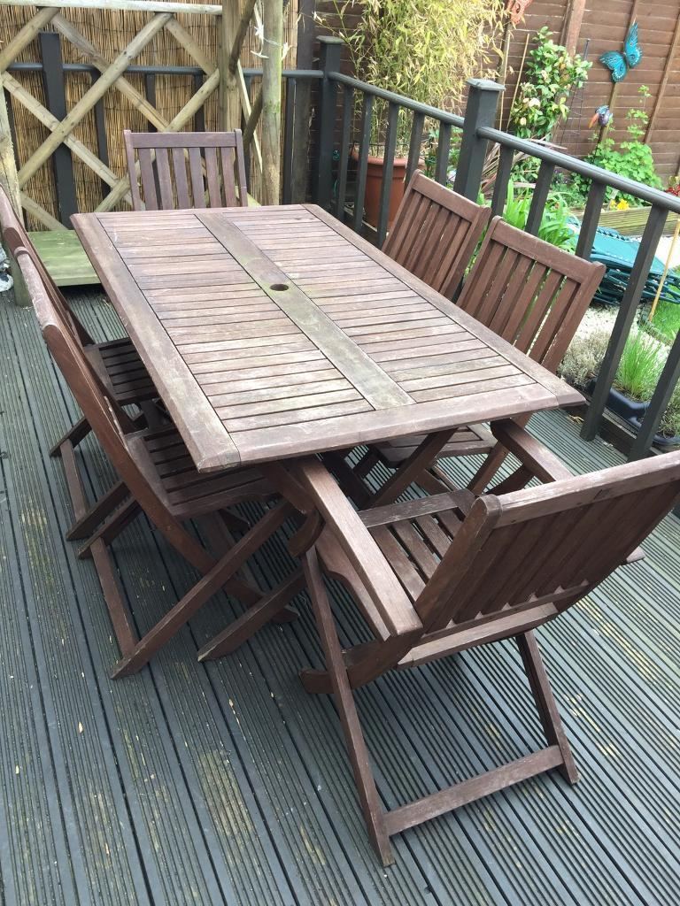 Garden Furniture 6 Chairs wooden garden furniture 6 chairs & table | in southam