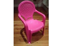 Child's chair: plastic, pink, indoor/outdoor kid seat
