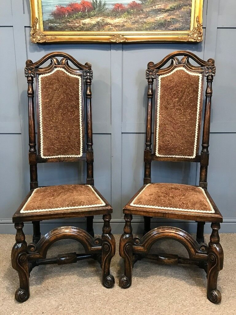 2 Antique Throne Chairs Carved Period Hall Chairs Dining Chairs Wedding See  Delivery - 2 Antique Throne Chairs Carved Period Hall Chairs Dining Chairs