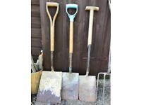 Vintage Antique Gardening Tools Spades Forks Shovel