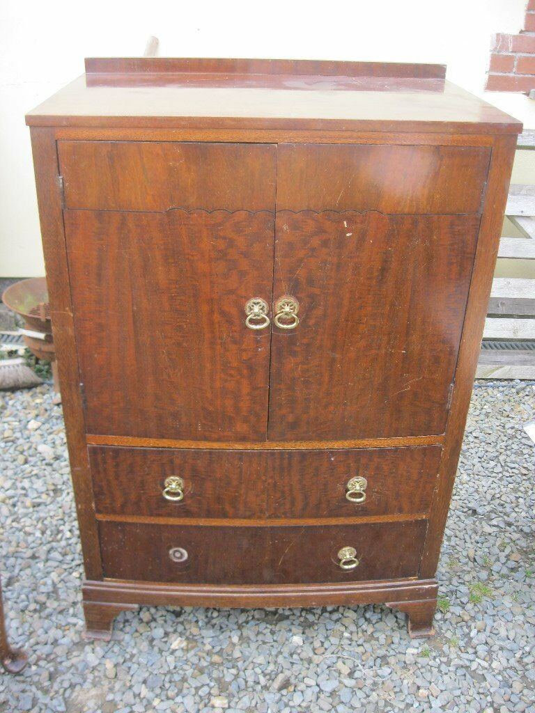 VINTAGE ORNATE TALLBOY. STURDY. TWIN TOP CABINET DOORS, 2 LOWER DRAWERS. VIEWING/DELIVERY POSSIBLE