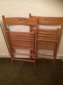 2 x pine folding chairs