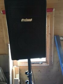 PA System: 1x Prosound 400W PowerAmp and 2x 150W Speakers and Stands