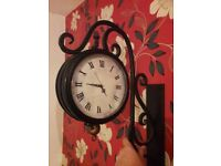 Double Sided Station Vintage Clock