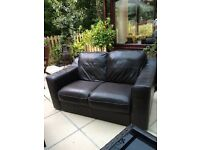 Brown leather two seater for sale