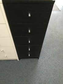 NEW 5 Drawer Narrow Chest Black
