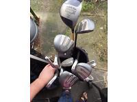 Full set of Golf Clubs Royal Scot Irons 3-9 PW/SW Stiff Shaft Driver Hybrids bag