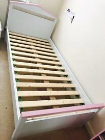 Argos single bed frame with mattress and bed side table