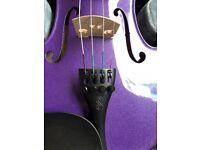 Child's Purple Violin 4/4 with case