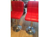 Two Red Kitchen/bar Stools For Sale