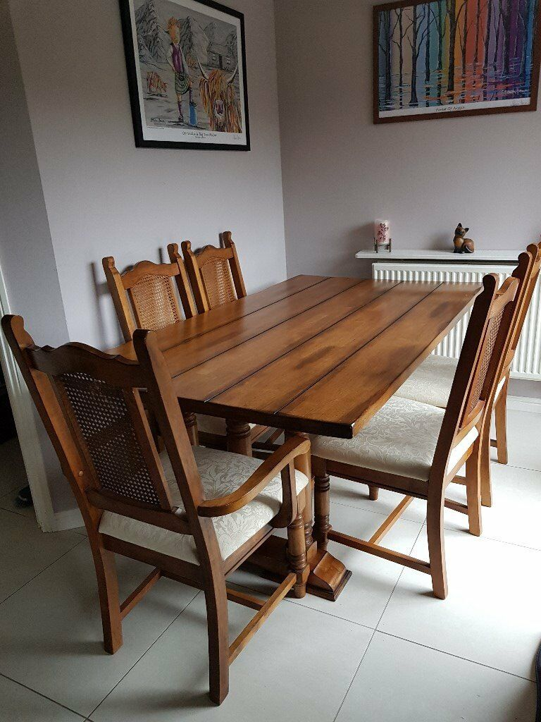 Medium Oak Solid Wood 6ft Dining Table 4 Chairs Carver Chair In Cwmbran Tor Gumtree
