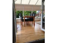 Excellent condition 5 X 4 metre ultra frame uPVC Conservatory +/- blinds and oak flooring