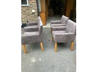 4 Oak Carver Style Dining Chairs In Brown Suedette