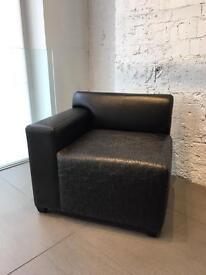 Black Leather Sofa custom made for DKNY