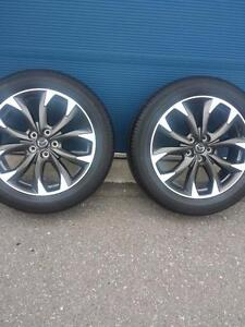 TWO WHEELS NOT FOUR.  MAZDA CX5 FACTORY OEM 19 INCH WHEELS WITH TOYO HIGH PERFORMANCE 225 / 55 / 19 ALL SEASON TIRES.