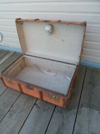 Quirky Vintage Trunk with Skull in Lid
