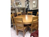 Beautiful oak round table with six solid oak chairs £780 the set