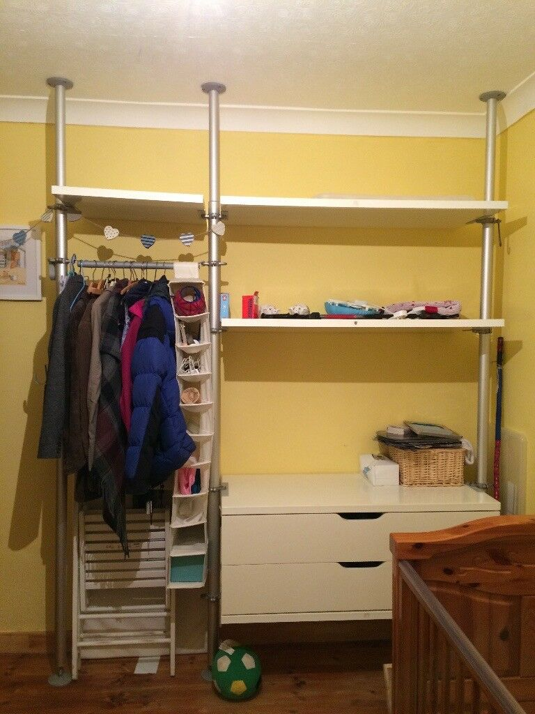Ikea Open Wardrobe Storage System With Drawers Rails And Shelves