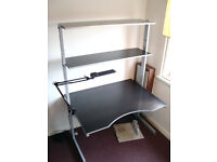 IKEA Jerka Workstation fully adjustable, with additional top shelf and swing-arm side-shelf