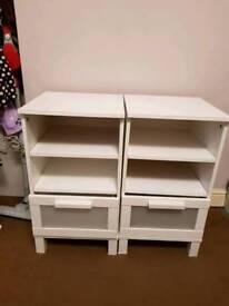 White ikea bedside tables