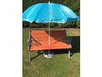 Garden bench with parasol and stand excellent condition ££55 can deliver local