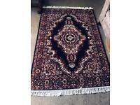 Brand New Manmade Dark Blue / Cream / Reddish Brown Traditional Belgium Rug 67in/120cm x 47in/180cm