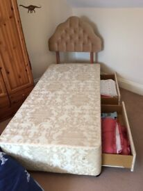 Single Divan bed with draws and headboard - optional mattress
