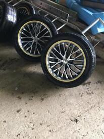 """Vw t5 18"""" BK racing alloy wheels and tyres"""