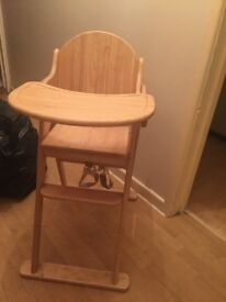 Wooden John Lewis high chair table